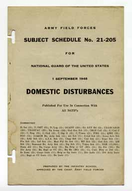 Domestic Disturbances - Subject Schedule No. 21-205. Army Field Forces.