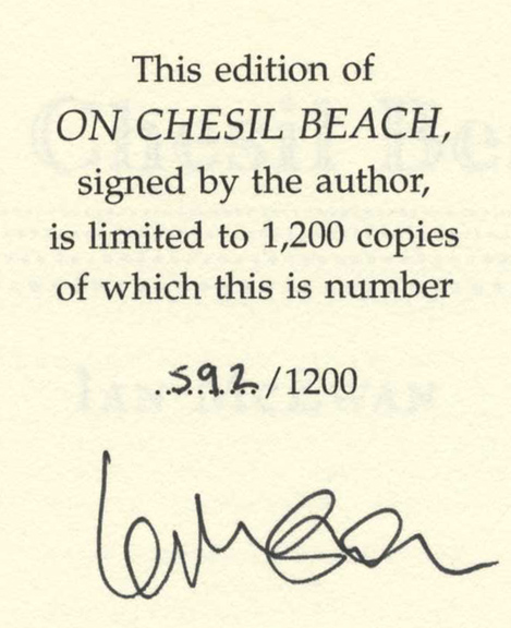 On Chesil Beach - 1st Edition/1st Printing. Ian McEwan.