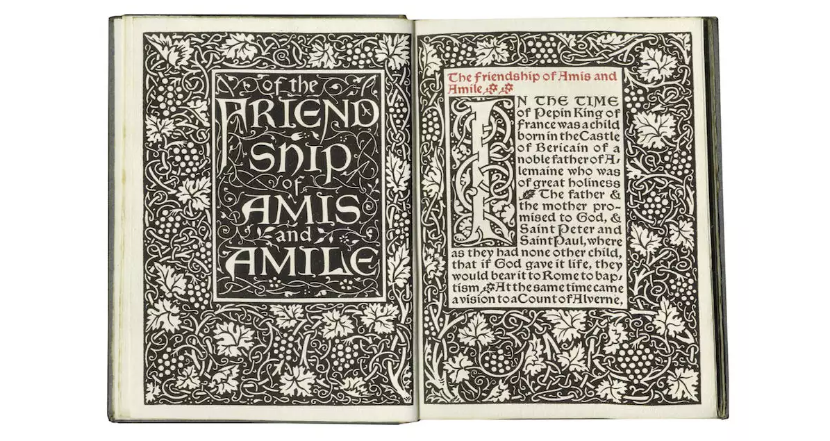 Of The Friendship Of Amis And Amile. William Morris, Kelmscott Press.