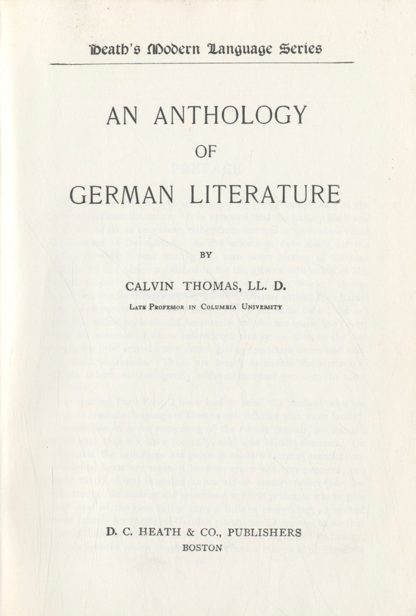 An Anthology Of German Literature. Calvin Thomas L. L. D.