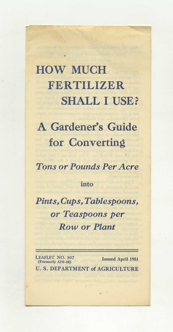 How Much Fertilizer Shall I Use? Agricultural Research Service.