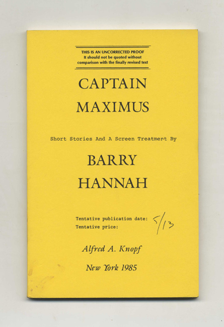 Captain Maximus. Barry Hannah.