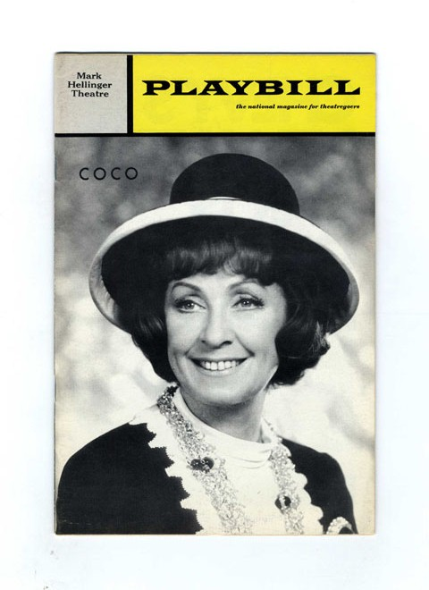 Playbill: Volume 8, Issue 9 (Sept. 1970) ; Frederick Brisson Presents Danielle Darrieux As Coco, a New Musical - 1st Edition/1st Printing. Alan Jay Lerner, Joan Alleman Rubin.