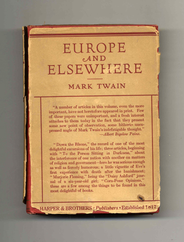 Europe and Elsewhere. Mark Twain, Samuel Langhorne Clemens.