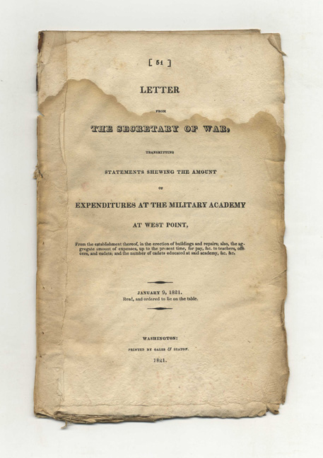 Letter from the Secretary of War, Transmitting Statements Shewing the Amount of Expenditures at the Military Academy at West Point, ... and the Number of Cadets Educated. John C. Calhoun.