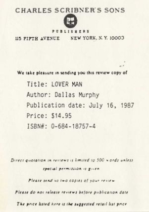 Lover Man - 1st Edition/1st Printing