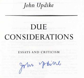 Due Considerations: Essays and Criticisms - 1st Edition/1st Printing