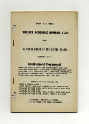 Subject Schedule No. 6-234 For The National Guard Of The United States - Instrument Personnel