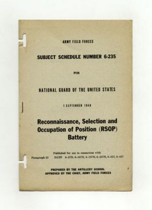 Subject Schedule No. 6-235 For The National Guard Of The United States - Reconnaissance,...
