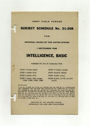 Subject Schedule No. 21-208 For The National Guard Of The United States - Intelligence, Basic
