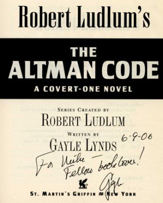 Robert Ludlum's The Altman Code: A Covert-One Novel -1st Edition/1st Printing. Robert Ludlum,...