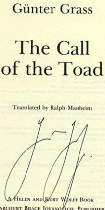 The Call of the Toad [Unkenrufe: Eine Erzählung] - 1st US Edition/1st Printing