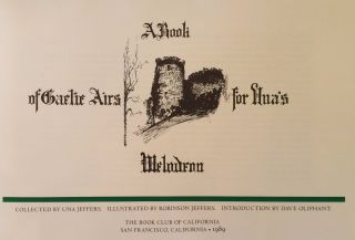 A Book Of Gaelic Airs For Una's Melodeon. Una Jeffers.