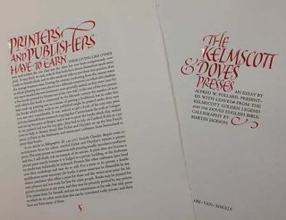 The Kelmscott & Doves Presses First Edition/ First Printing