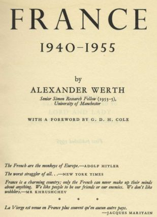 France: 1940-1955 - 1st Edition/1st Printing