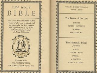 The Holy Bible: The Authorized or King James Version of 1611 Now Reprinted with the Apocrypha. Volume I, the Old Testament Genesis to Kings