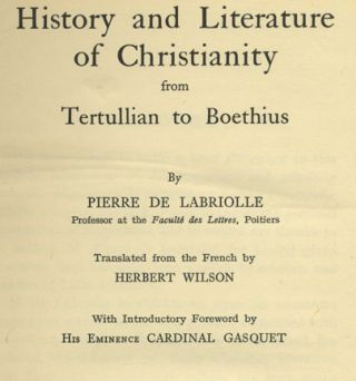 History and Literature of Christianity from Tertullian to Boethius
