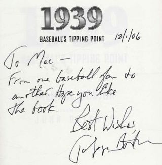 1939: Baseball's Tipping Point -1st Edition/ 1st Printing